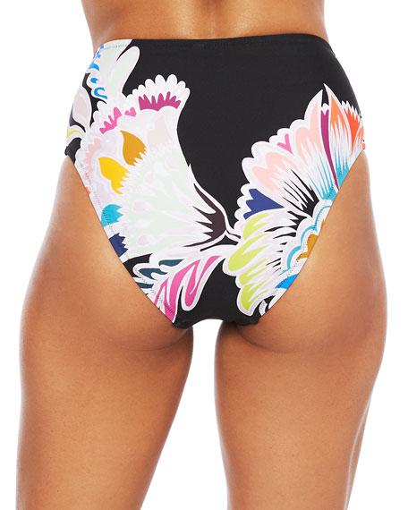 Trina Turk Seychelles High-Waist Bikini Bottom w/ Belt