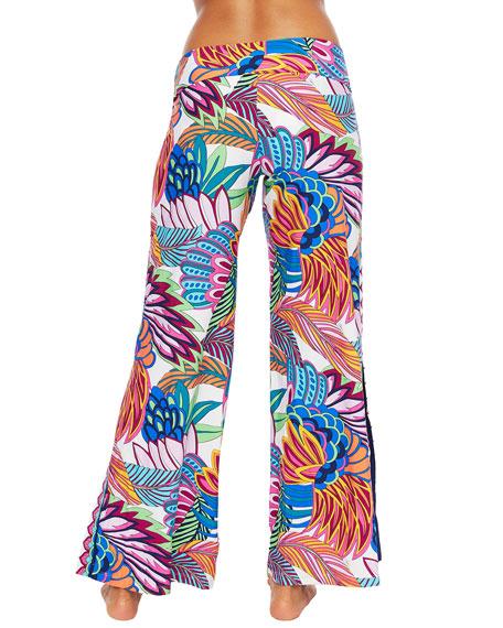 Trina Turk Paradise Plume Roll-Top Coverup Pants