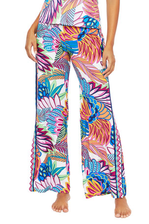 Trina Turk Paradise Plume Roll-Top Coverup Pants