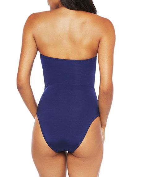 Trina Turk Paradise Plume Bandeau Lace-Up One-Piece Swimsuit