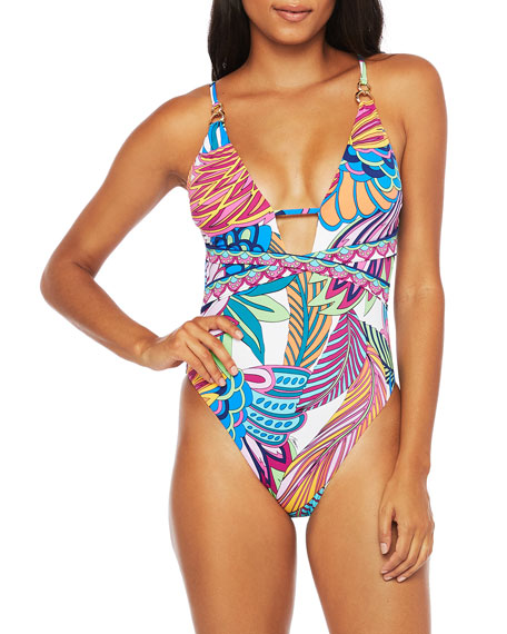 Trina Turk Paradise Plume Plunging One-Piece Swimsuit