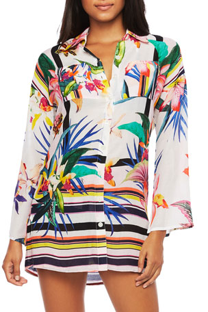 Trina Turk Treasure Cove Printed Coverup Shirt