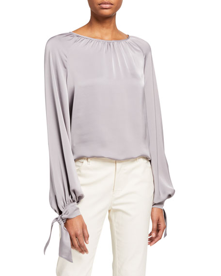 Ramy Brook Amy Satin Tie-Cuff Blouse
