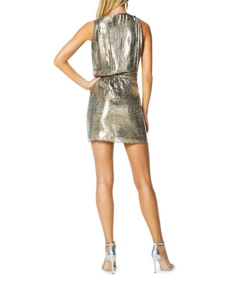 Ramy Brook Gabriella Printed Metallic Cocktail Dress