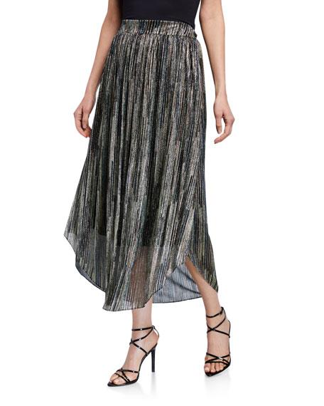 Ramy Brook Lenon Striped Metallic Midi Skirt