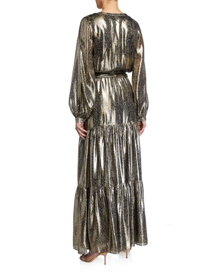 Ramy Brook Gio Printed Metallic Long-Sleeve Tiered Dress