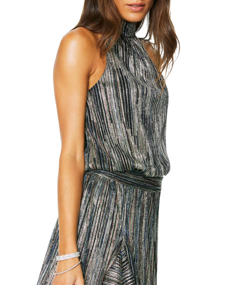 Ramy Brook Monica Metallic High-Neck Cocktail Dress