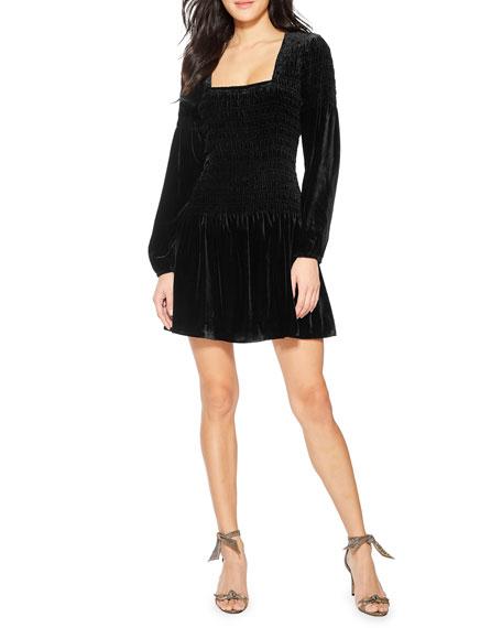 Parker Tiara Smocked Velvet Cocktail Dress