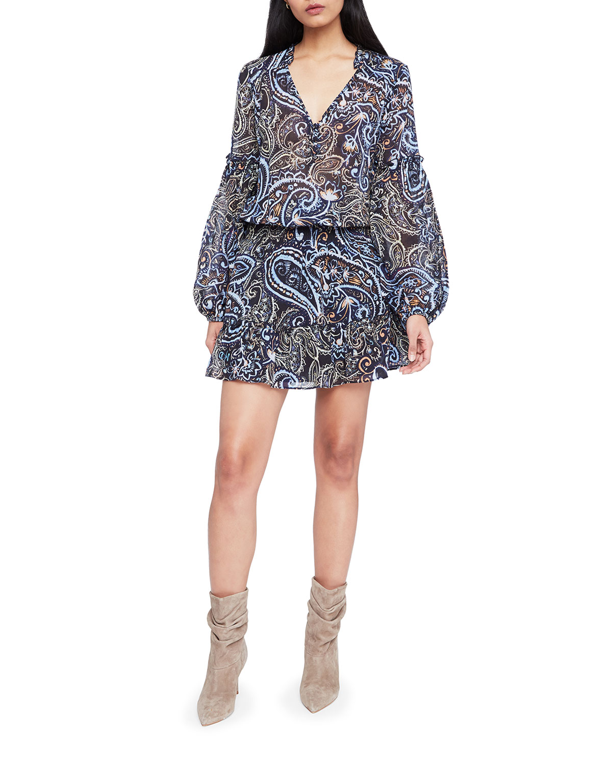 Parker Maribel Printed Long-Sleeve Dress