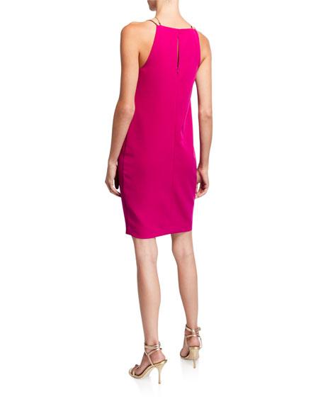Trina Turk Bimyou Pleated Solid Smoothie Halter Dress w/ Metal Straps