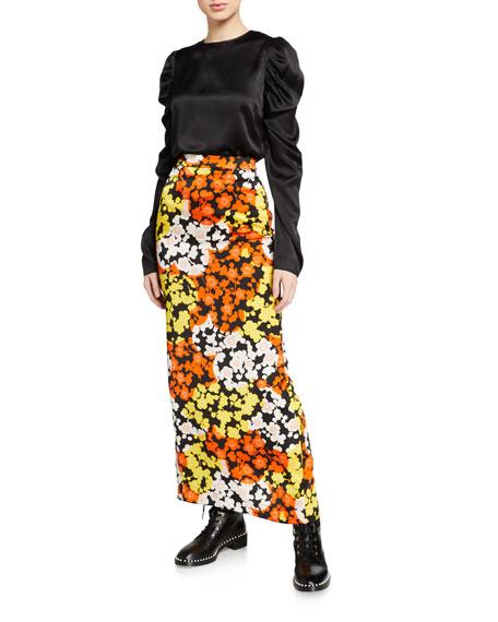 McQ Alexander McQueen Back-Slit Floral Long Skirt
