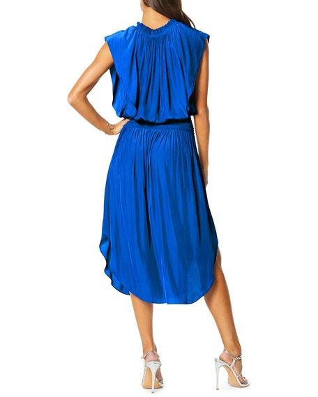 Ramy Brook Wren Smocked V-Neck Midi Dress