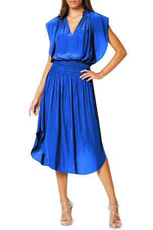 Ramy Brook Wren Smocked V-Neck Midi Dress