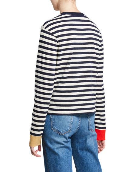 Veronica Beard Sirio Striped Long-Sleeve Top