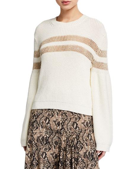 Veronica Beard Georgiana Crewneck Open-Stitch Inset Sweater