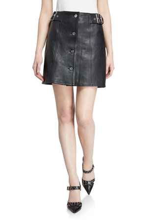 McQ Alexander McQueen Miyako Leather Button-Front Skirt