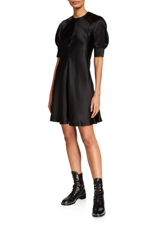 McQ Alexander McQueen Hisano Short-Sleeve Silk Dress