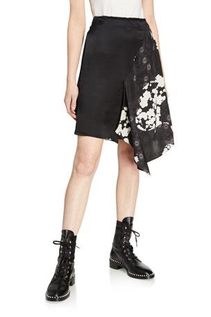 McQ Alexander McQueen Komari Asymmetric Silk Skirt