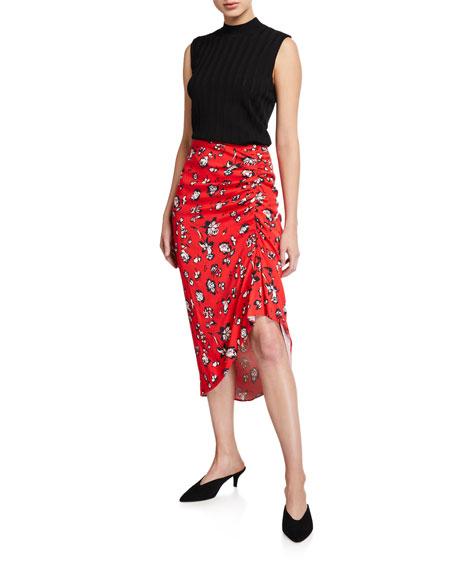 Veronica Beard Cheryl Floral Ruched Asymmetric Skirt