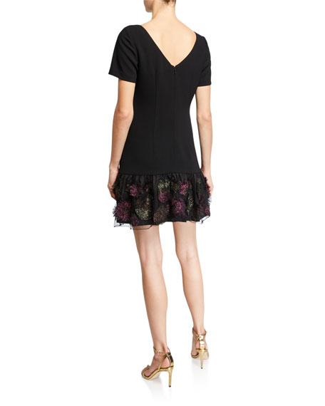 Trina Turk Akaibara Short-Sleeve Drop-Waist Crepe Shift Dress