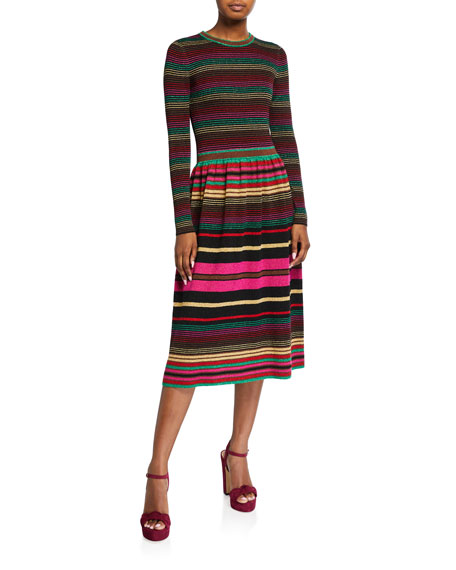 Trina Turk Ikagai Multi Stripe Long-Sleeve Midi Sweater Dress