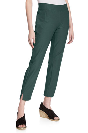 Eileen Fisher Petite Washable Stretch-Crepe Side-Slit Ankle Pants