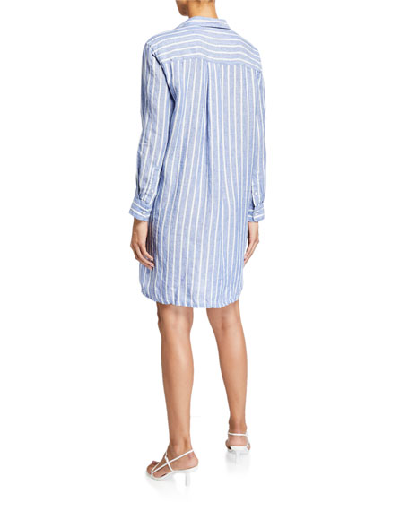 Frank & Eileen Hunter Striped Button-Down Linen Shirtdress
