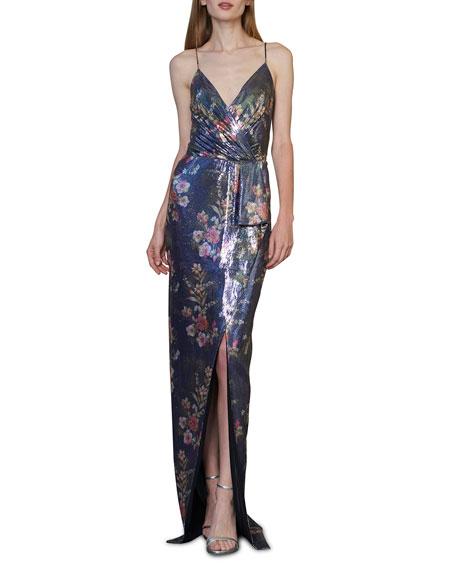 ML Monique Lhuillier Sequin Sleeveless Faux-Wrap Column Gown