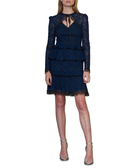 ML Monique Lhuillier Tiered Long-Sleeve Lace Dress with Tie Front