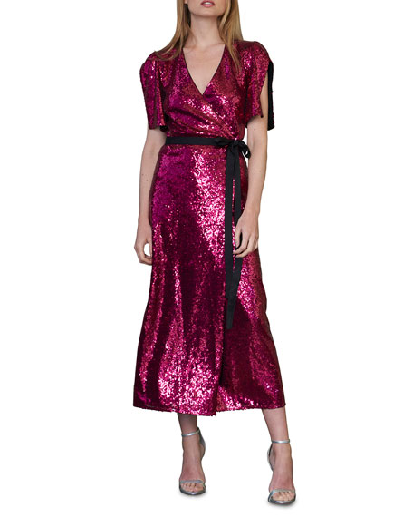 ML Monique Lhuillier Sequin Flutter-Sleeve Midi Wrap Dress