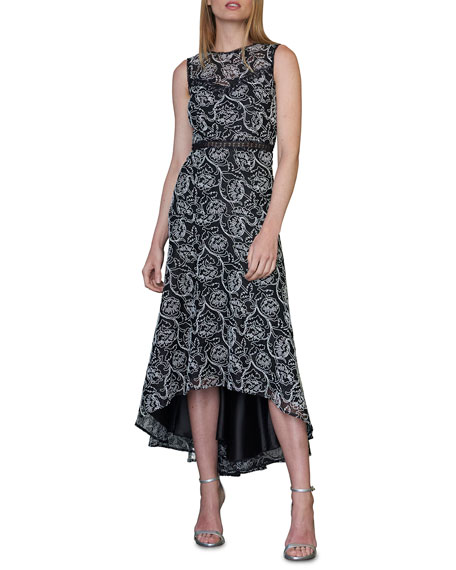 ML Monique Lhuillier Sleeveless High-Low Lace Cocktail Dress