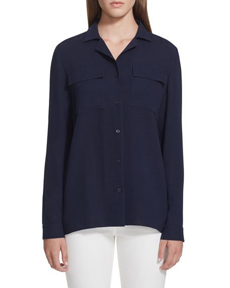 Lafayette 148 New York Rigby Silk Button-Down Blouse