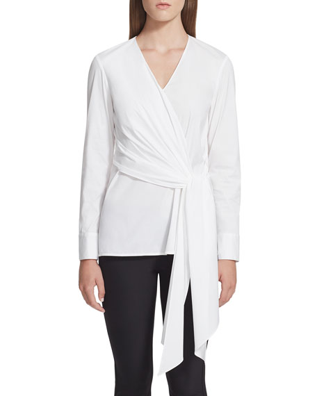 Lafayette 148 New York Olivia Long-Sleeve Draped Tie-Front Blouse