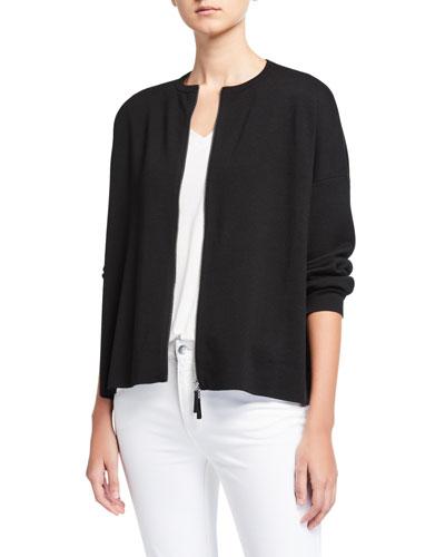 Plus Size Zip Front Wool Cardigan