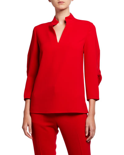 Plus Size Loretta Finesse Crepe Blouse w/ Mandarin Collar