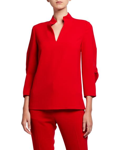 Lafayette 148 New York Plus Size Loretta Finesse Crepe Blouse w/ Mandarin Collar