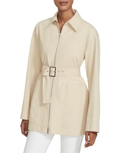 Allegra Zip-Front Belted Stretch Cotton Jacket