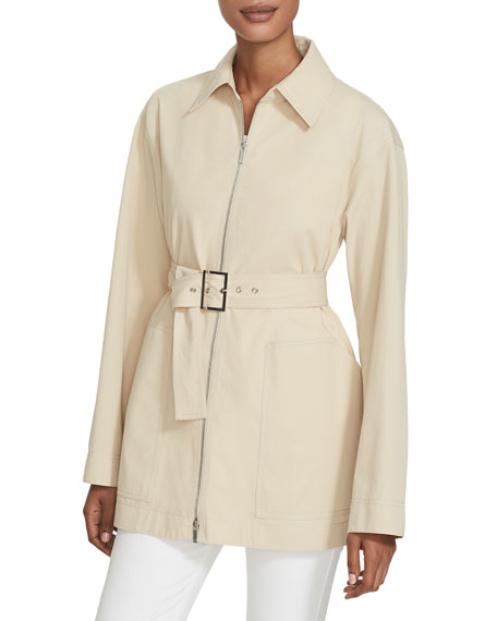 Lafayette 148 New York Allegra Zip-Front Belted Stretch Cotton Jacket