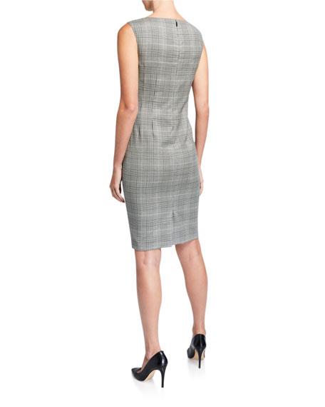 Lafayette 148 New York Plus Size Della Houndstooth Plaid Sleeveless Sheath Dress