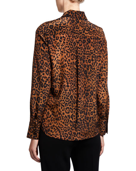 Lafayette 148 New York Plus Size Diana Leopard Print Tie-Neck Silk Blouse