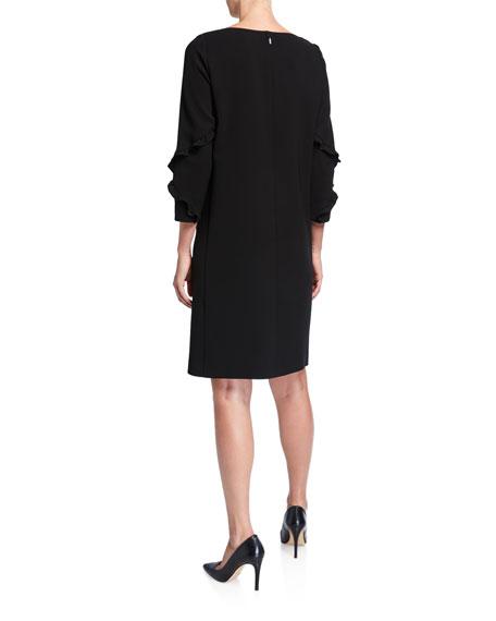 Lafayette 148 New York Plus Size Abigail Ruffle-Trimmed 3/4-Sleeve Finesse Crepe Dress