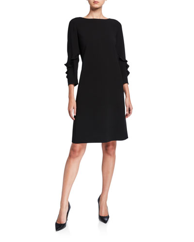Plus Size Abigail Ruffle-Trimmed 3/4-Sleeve Finesse Crepe Dress