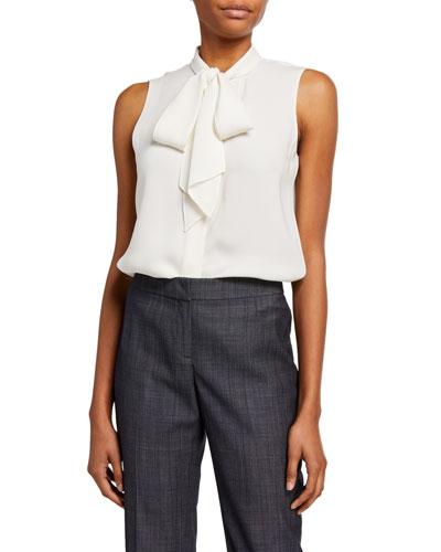 Plus Size Joel Silk Double Georgette Tie-Neck Sleeveless Blouse