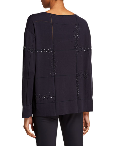 Lafayette 148 New York Plus Size Bateau-Neck Embellished Matte Crepe Sweater