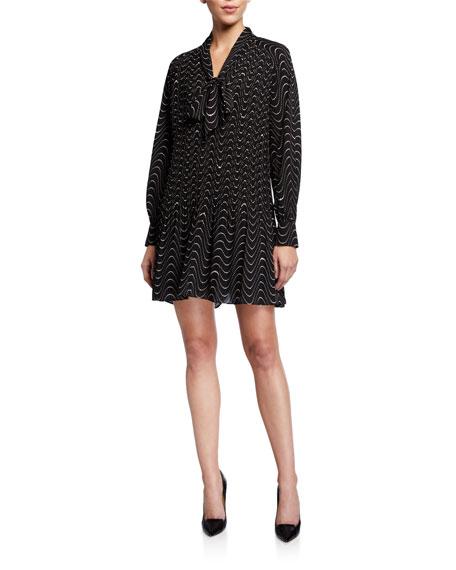 kate spade new york wavy dot long-sleeve mini shift dress