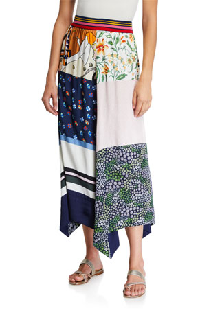 See by Chloe Summer Patchwork Twill Handkerchief Skirt