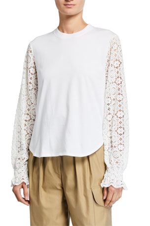 See by Chloe Embellished Lace Crewneck Tee