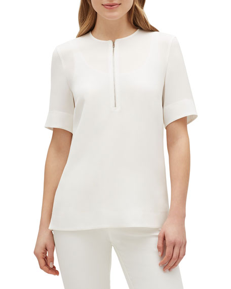 Lafayette 148 New York Durham Finesse Crepe Zip-Front Short-Sleeve Blouse