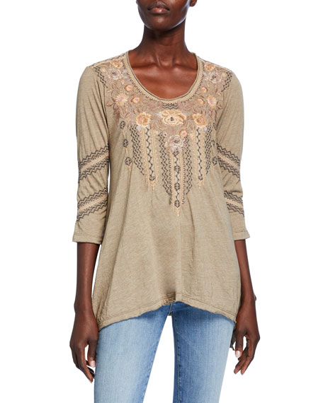 Johnny Was Marushka Embroidered 3/4-Sleeve Trapeze Tee