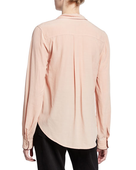 Rag & Bone Dean Cross-Front Long-Sleeve Top